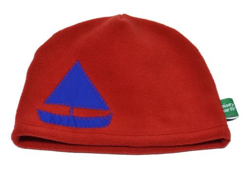 Fleece Hat - Red Sailboat