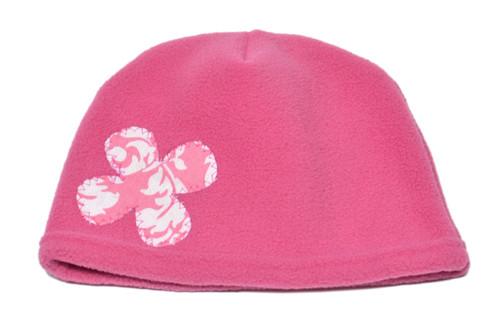 Fleece Hat -Pink Flower
