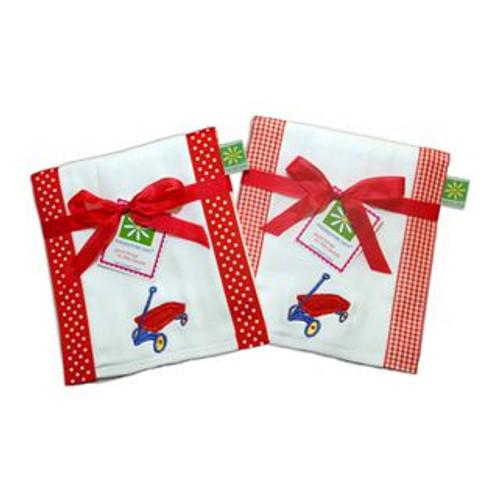 Set of 2 Sale Red Wagon Burp Cloths