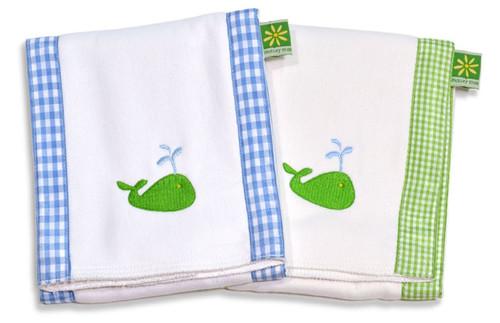 Set of 3 Burp Cloths - Boy Whale