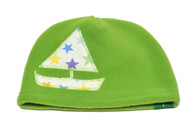 Fleece Hat - Green Sailboat