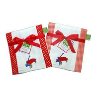 Set of 3 Burp Cloths - Red Wagon