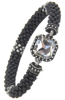 Bali Inspired Black Matte Bracelet Featuring Cushion Cut Crystal sold at 2 Lisas Boutique