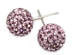 Lilac Crystal Ball Earrings