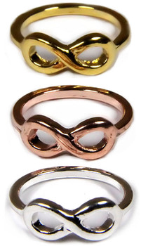 Infinity Rings in Gold, Rose Gold, or Silver from 2lisasboutique.com