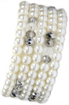 5 Beautiful White Glass Pearl and Crystal Stackable Bracelets from 2 Lisas Boutique