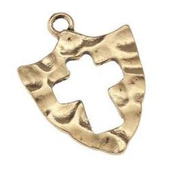 Antique Gold Shield Pendant Pendant