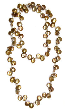 Biwa Gold Freshwater Knotted Pearl Necklace and sold by 2 Lisas Boutique