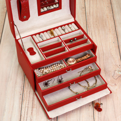 Red Leather Ladies Jewelry Box Cute Ladies Jewelry Cases Bucasi