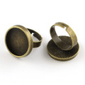 Adjustable Alloy Ring Round Cabochon Setting 18mm Antique Bronze 10/pkg