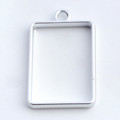 Open Frame Pendant Rectangle 25x19mm Matte Silver 10/pkg