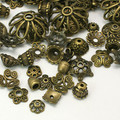 Tibetan Style Mixed Shapes Bead Caps 50g - Antique Bronze