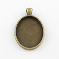Oval Flat Alloy Pendant 30x20x3mm - Antique Bronze 10/pkg