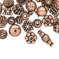 Tibetan Style Mixed Shapes Bead Caps 50g - Red Copper