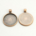 Round Flat Alloy Pendant 25mm -  Copper