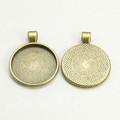 Round Flat Alloy Pendant 25mm -  Antique Bronze