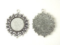 Round Flat Alloy Pendant Flower Etched – Antique Silver