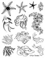 Designs by Ryn Unmounted Rubber Stamp Sheet – Sea Creatures 2