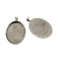 Oval Flat Alloy Pendant 40x30mm - Antique Silver 10/pkg