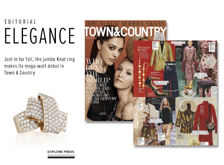 Editorial Elegance; Just in for fall, the jumbo Knot ring makes its mega-watt debut in Town & Country; Explore Press