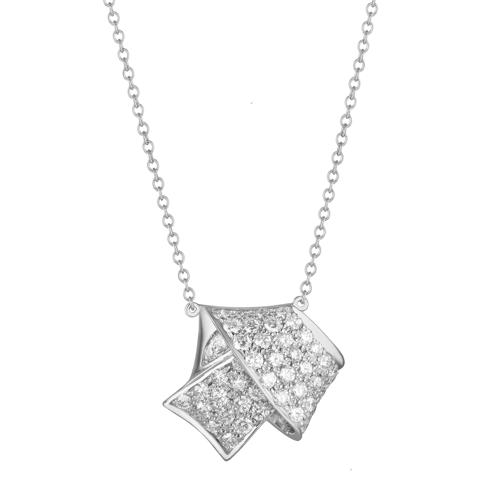 JUMBO KNOT PAVE DIAMOND PENDANT IN WHITE GOLD