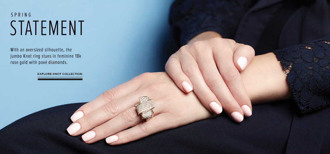 Spring Statement; With an oversized silhouette, the jumbo Knot ring stuns in feminine 18k rose gold with pave diamonds; Explore Knot Collection
