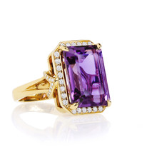 Amethyst And Diamond Pave After Dark Ring