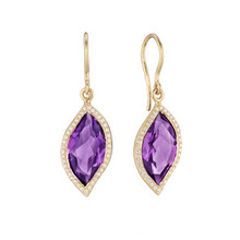 Amethyst and Diamond Pave Leaf Earrings