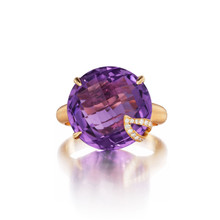 Amethyst and Diamond Pave Leaf Signature Ring