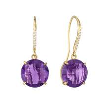 Amethyst and Diamond Pave Signature Earrings