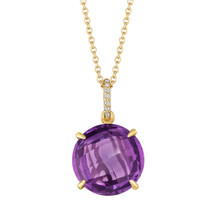 Amethyst and Diamond Pave Signature Pendant