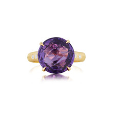 Amethyst and Diamond Signature Ring