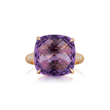 Amethyst Cushion And Diamond Signature Ring