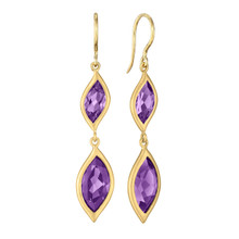 Leaf Amethyst Double Drop Earrings