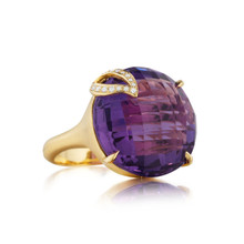 Amethyst Single Leaf Large Signature Ring