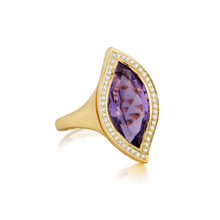 Large Leaf Amethyst North-South Ring