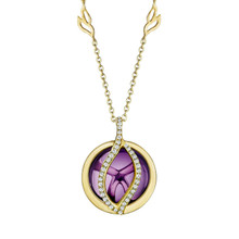 Small Brooke Leaf Amethyst and Pave Diamond Pendant