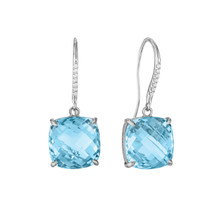 Blue Topaz And Diamond Pave Cushion Signature Earrings