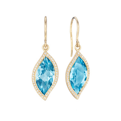 Blue Topaz and Diamond Pave Leaf Earrings