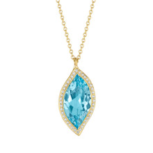 Blue Topaz and Diamond Pave Leaf Pendant