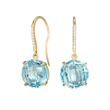 Blue Topaz and Diamond Pave Signature Earrings