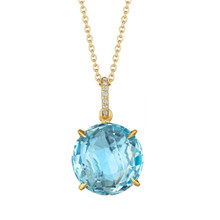 Blue Topaz and Diamond Pave Signature Pendant