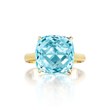 Blue Topaz Cushion Signature Ring