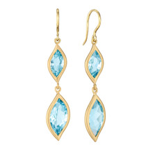Blue Topaz Double Drop Leaf Earrings