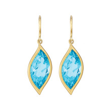 Blue Topaz Leaf Earrings
