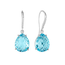 Blue Topaz Pear and Diamond Pave Signature Earrings
