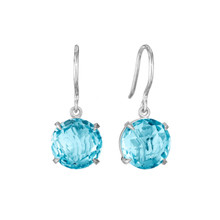 Blue Topaz Signature Earrings in White Gold
