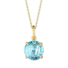 Blue Topaz Signature Pendant in Yellow Gold