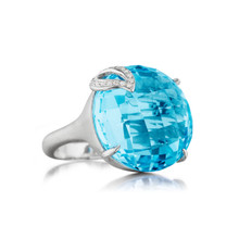 Blue Topaz Single Leaf Large Signature Ring