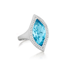 Large Blue Topaz and Diamond Pave North-South Leaf Ring